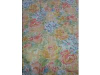 Very long floral curtains. 4.3m drop With swags , tails and tiebacks
