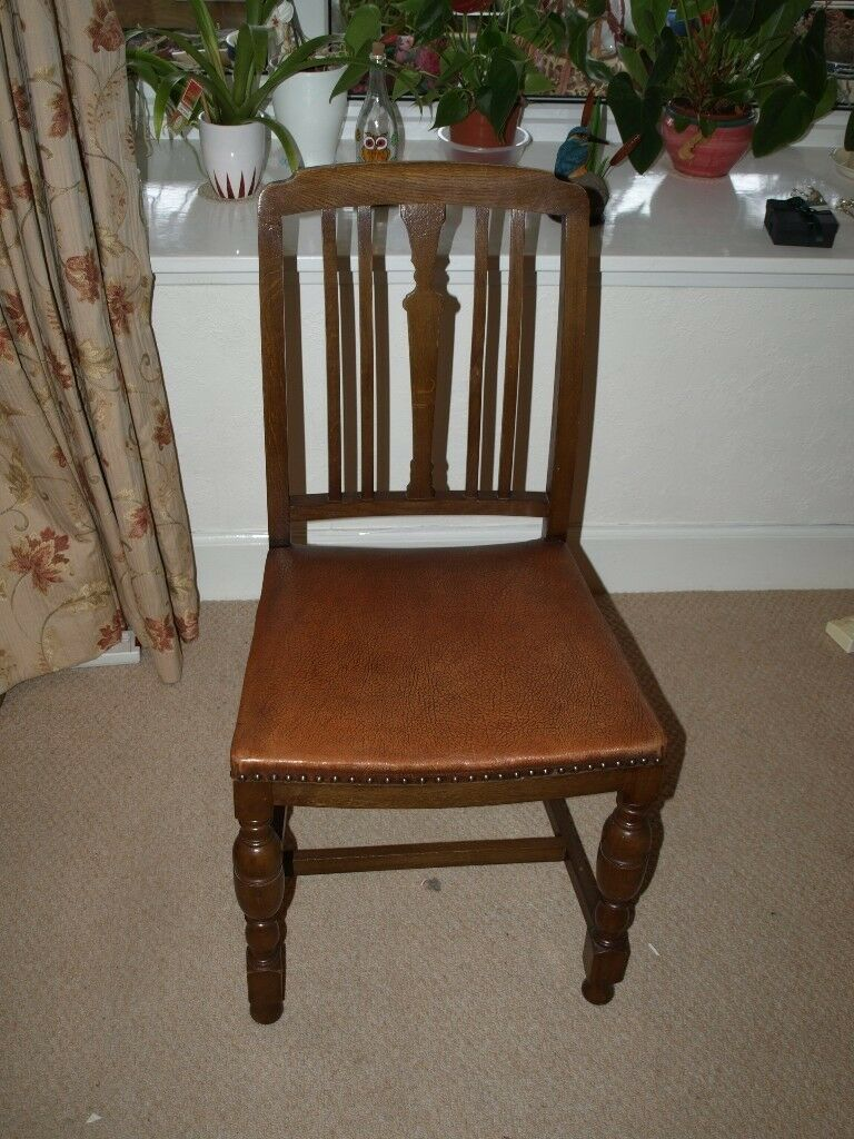 4 Antique Wooden Chairs with Leather Seats - 4 Antique Wooden Chairs With Leather Seats In Perth, Perth And