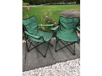 FOR SALE Pair of Green folding canvas garden chairs in excellent order