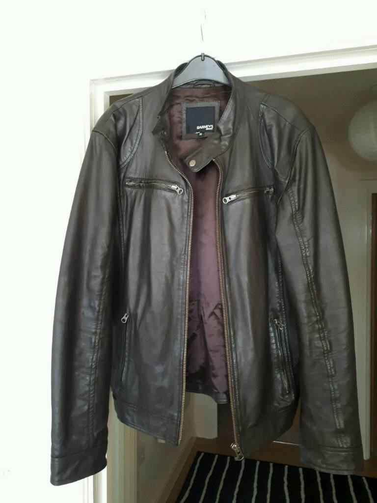 100% Genuine leather men's jacket by Barneys size M