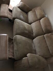 3 seater recliner sofa + 2 seater + storage pouffe