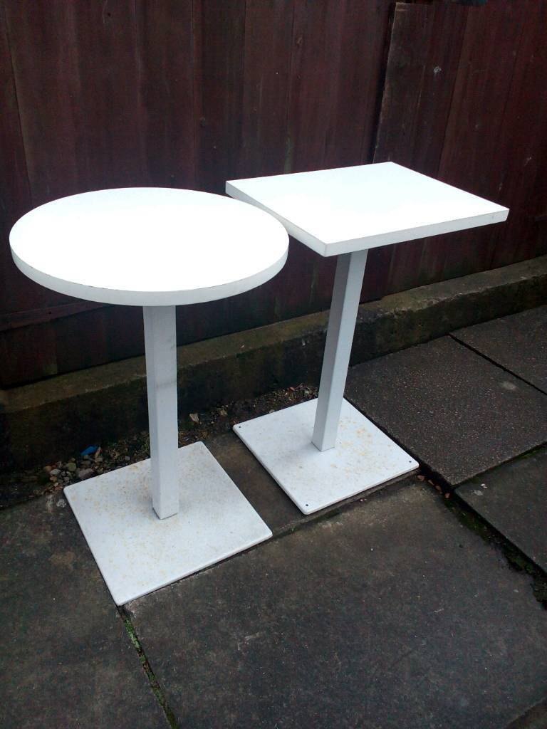 Cafe bistro tables 6 of white formica top heavy metal base