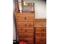 Solid pine tallboy chest of draws for sale