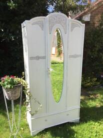 Beautiful vintage shabby chic style wardrobe - delivery available