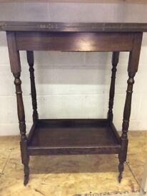 Vintage dark wood foldable card table felt top