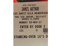 James Arthur concert ticket