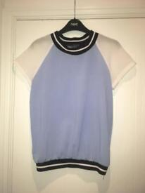 Blue/white t shirt blouse top size 8