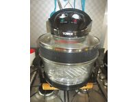 Electric Halogen Cooker black, glass lid / base, hardly used in good condition with all accessaries.