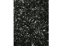 2 John Lewis Black Shaggy Style Rugs (with silver flecks