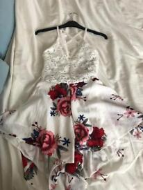 Lace and floral cross backed play suit