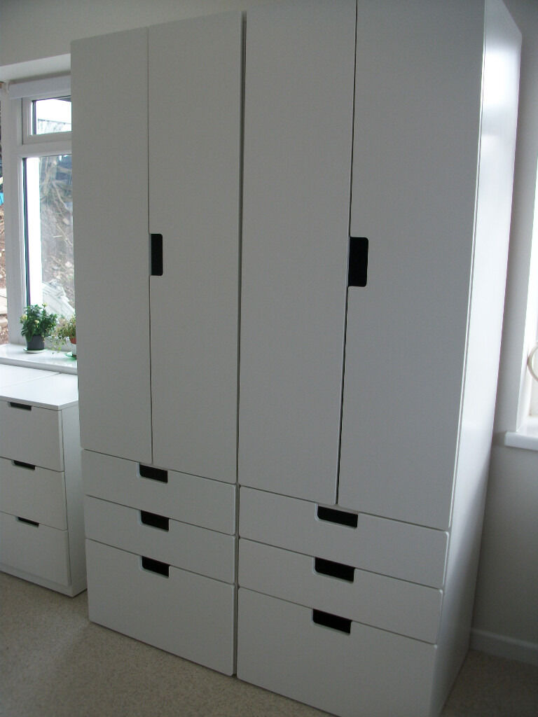 2 white ikea stuva wardrobe and drawers combo plus 2 nordli 3 drawer chests will split in. Black Bedroom Furniture Sets. Home Design Ideas
