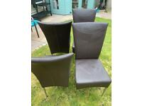 4 x Brown leather effect DINING CHAIRS with chrome legs.