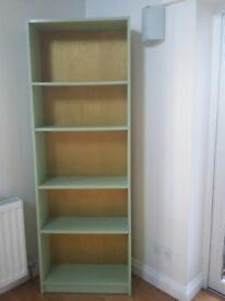 Upcycled MDF, slimline bookcase. Apple green with gold papered back. Perfect for small alcove.