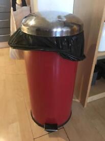 Red pedal waste bin