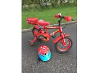 Fire chief Rescue 12 inch bike with helmet