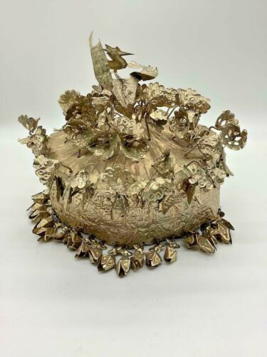 Vintage Traditional Chinese Metal Detailed Miao Wedding Hat