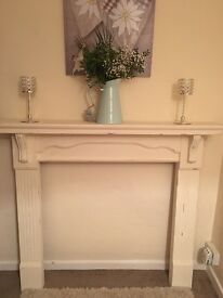 Solid wood shabby chic fire surround
