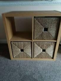Ikea Kallax Oak Effect Storage Unit with Seagrass Baskets
