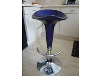 STOOLS, BAR STOOLS, PAIR, 2 OFF, GAS LIFT, PURPLE IN COLOUR