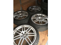 "Audi Genuine 19"" RS4 RS6 A4 B8 Alloy Wheels, 14 spoke 255 35 R19, 8k0.601.025.aa /4f0.601.025.dg"