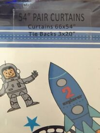Child's space theme curtains and light shade