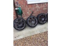 Audi alloy wheels 18 inch only 3 the same all with good tires will fit most Audi's VW 225/40/R18