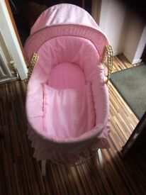 Pink broderie anglais Moses basket