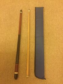 Two piece pool/ snooker cue- free case if required
