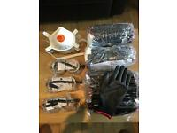 Set of 43 polyester gloves, 3 safety goggles and masks