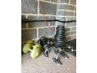 Assorted weights & stands plus bench