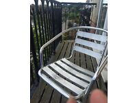 2 sliver metal outdoor chairs £5
