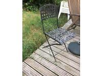 Old antique fold up steel garden chair