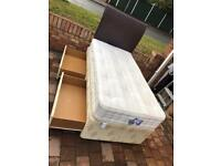 Single divan bed with 2 drawers/leather headboard and clean thick mattress