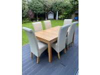 IKEA oak effect extendable dining table & 6 cream faux leather chairs