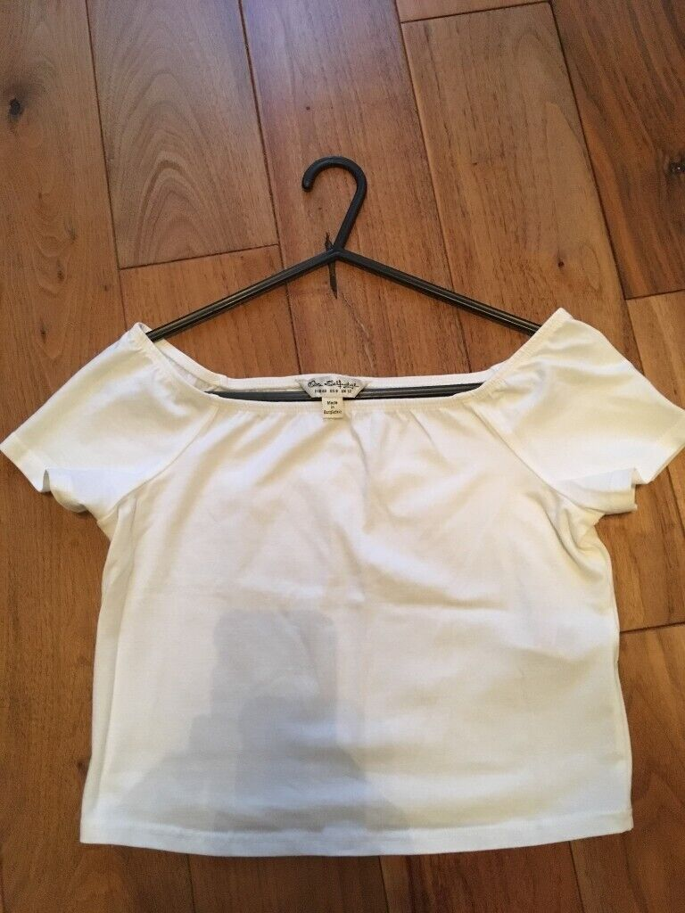 3c67aaee1 NEW Miss Selfridge white cropped t shirt top, off shoulder/boat neck, size  12