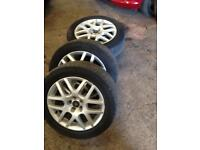 """Vw golf gti 16"""" Montreal alloy wheels 5x100 good used condition few marks all tyres ok £150"""
