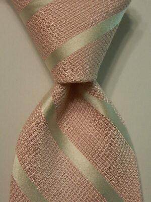 IKE BEHAR Men's 100% Silk Necktie USA Designer STRIPED Pink/White Classic EUC