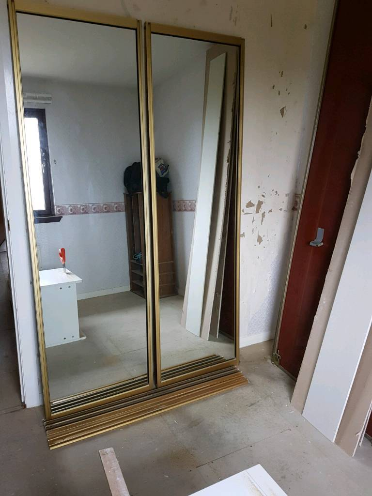 Mirror sliding doorsin Westhill, AberdeenshireGumtree - Track 120cmEach door 230x61 cm