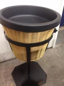 produce wicker basket on metal stand