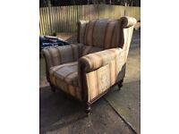 Lovely Queen Anne Wing Back Fireside Armchair Chair