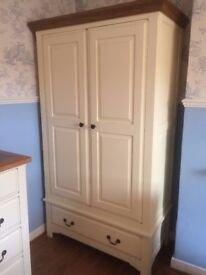 Cream painted & oak full length hanging double wardrobe with drawer