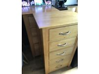 Two Good Quality Identical Solid Oak Throughout Cabinets, Chests of Drawers