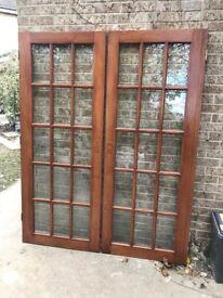 Pair of hardwood glazed doors
