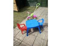 Kids garden table + 2 chairs and Trike.