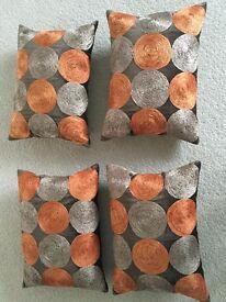 John Lewis Cushions and Covers - orange/mocha circles - 4 available at £45 or each at £12.50