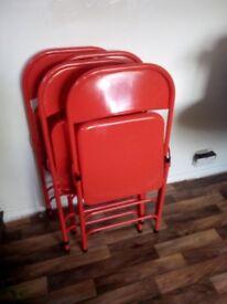 5 Red habitat chairs