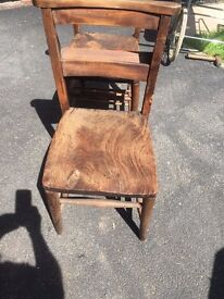 2 old ex church chairs