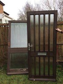 WOOD & GLASS PANELLED DOORS X 2 : FREE