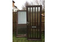 WOOD & GLASS PANELLED DOORS X 2 : FREE