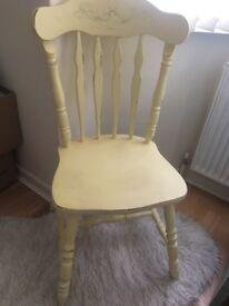 Yellow shabby chic chair